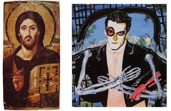 left: The oldest known icon of Christ Pantocrator, encaustic on panel (Saint Catherine's Monastery). The two different facial expressions on either side may emphasize Christ's two natures as fully God and fully human (source: Wikipedia) right: (E-E) Evgenij Kozlov Портрет Тимура Новикова с костяными руками / Portrait of Timur Novikov with Arms consisting of Bones, Oil, gouache, canvas, 103 x 94 cm, 1988. State Russian Museum, St. Petersburg