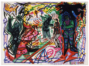 Evgenij Kozlov o. T. (Shock ART) Filzstift, Wackskreide auf Computerausdruckpapier 30.5 x 42 cm, 1986