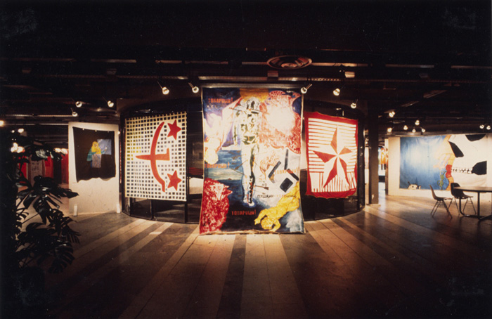 Kulturhuset, The New from Leningrad 1988,general view of the exhbition. From left to right: works by Oleg Kotelnikov, Evgenij Kozlov , Sergei Bugaev, Evgenij Kozlov , Oleg Maslov & Aleksej Kozin